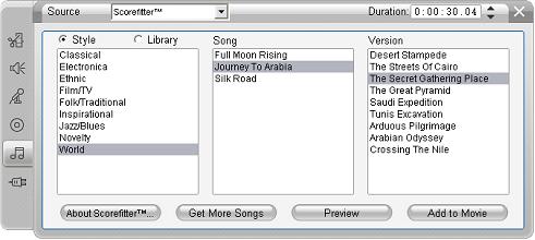 Pinnacle Studio image002 Bakgrundsmusik verktyget