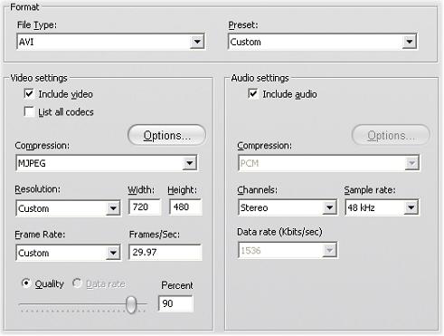 Pinnacle Studio image001 Konfigurationer för Skapa fil