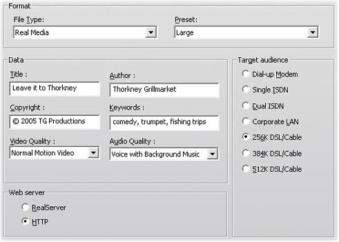Pinnacle Studio image001 Inställningar för Real Media filer
