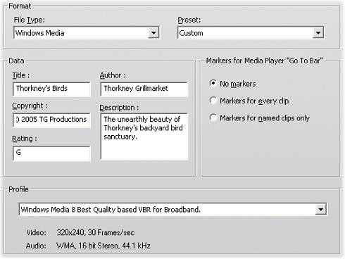 Pinnacle Studio image001 Konfigurationer för Skapa Windows Media fil
