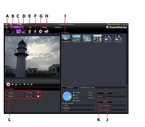 PowerDirector capture2 Capturing Media