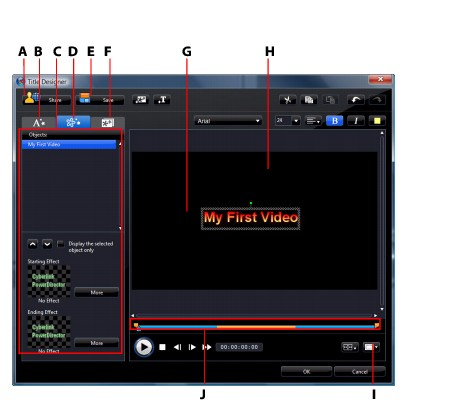 PowerDirector titled96 Modifying Title Effects in the Title Designer