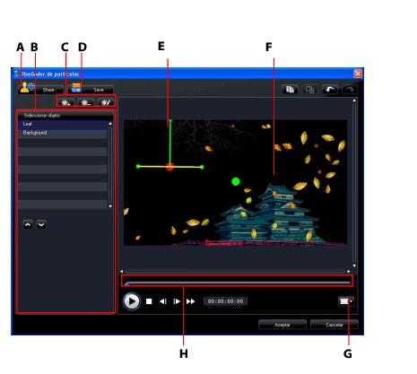 PowerDirector partic73 Modificación de efectos de partículas en el Diseñador de partículas