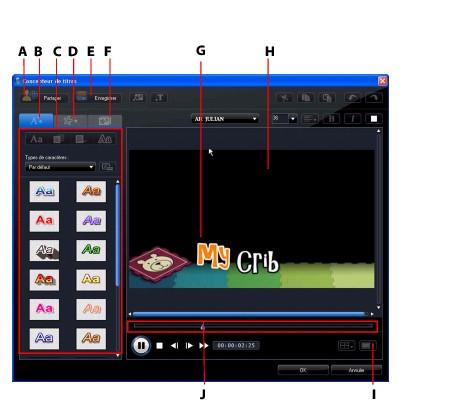 PowerDirector titled95 Modifier les effets de titres dans le concepteur de titres