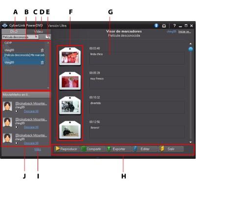 PowerDVD bookma49 Funciones de los marcadores