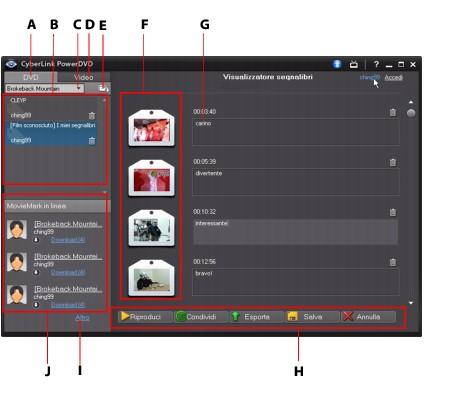 PowerDVD bookma48 Funzioni segnalibro