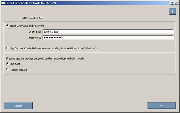 Proliant Maintenance CD 90256 Entering credentials for hosts