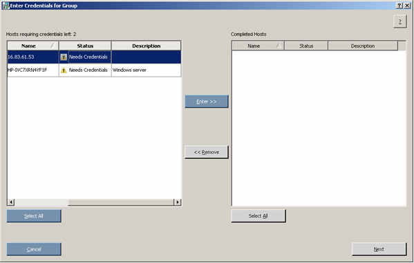 Proliant Maintenance CD 90258 Entering credentials for hosts