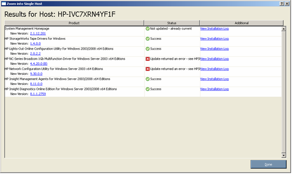 Proliant Maintenance CD 90269 Viewing the installation results for multiple hosts