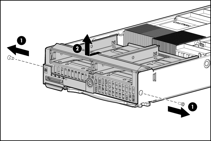 HP ProLiant WS460c G6 97436 Front panel/hard drive cage assembly