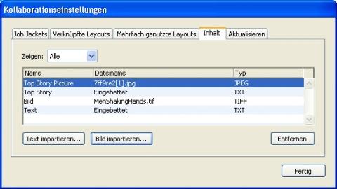 QuarkXpress db collaboration setup import Importieren und Verwalten mehrfach genutzter Inhalte