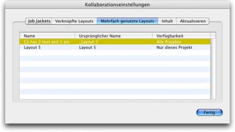 QuarkXpress db collaboration setup shared layouts Betrachten von Informationen zu verknüpfbaren Composition Layouts