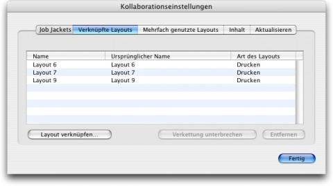 QuarkXpress db link layout after Verknüpfung mit einem Composition Layout in einem anderen Projekt