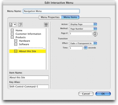 QuarkXpress db edit interactive menu menu items Creating an Interactive Menu