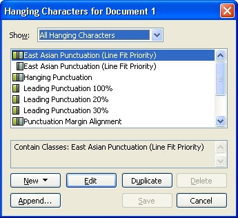QuarkXpress db hanging characters Working with hanging characters
