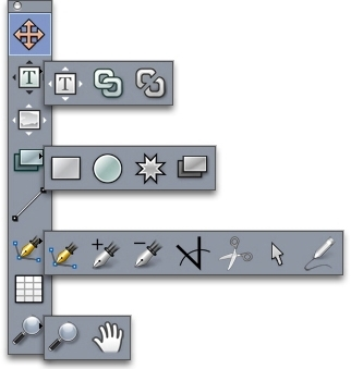 QuarkXpress palette tools Työkalut