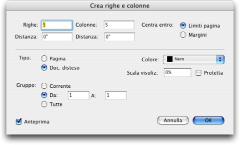 QuarkXpress db create rows and columns Creazione di righe e colonne