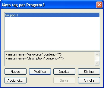 QuarkXpress db meta tags for Creazione di un set di meta tag
