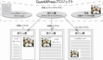 QuarkXpress diagram shared content library 共有コンテンツの使用