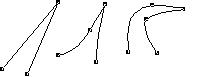 QuarkXpress example corner points 베지어 모양 이해하기