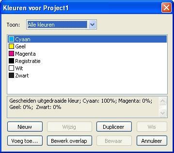 QuarkXpress db colors Het dialoogvenster Kleuren