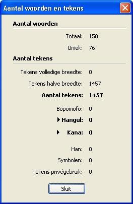 QuarkXpress db word and character count Aantal woorden en tekens