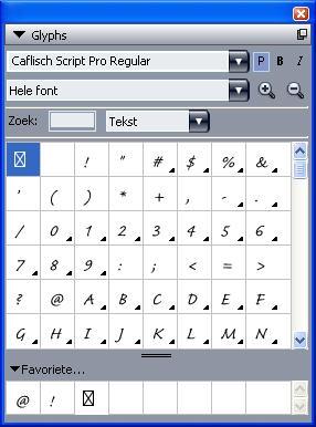 QuarkXpress pal glyphs Werken met het Glyphs palet