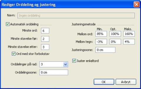 QuarkXpress db edit hyphenation and justification W Styre orddeling og justering