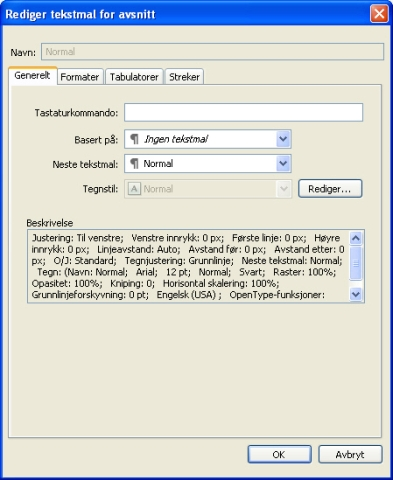 QuarkXpress db edit paragraph style sheet Opprette og redigere tekstmaler for avsnitt