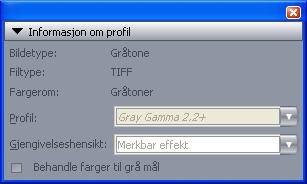 QuarkXpress pal profile information Paletten Informasjon om profil