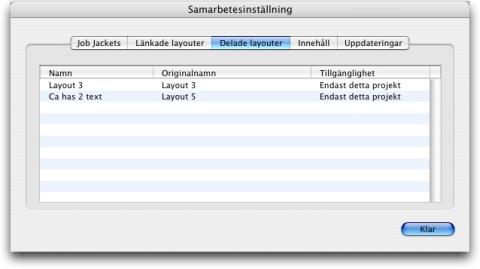 QuarkXpress db collaboration setup shared layouts Visa information om länkningsbara komponeringslayouter