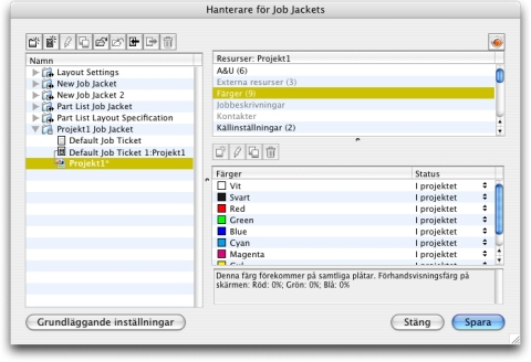 QuarkXpress db job jackets manager advanced Komma åt resurser: Avancerat läge