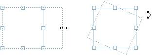 QuarkXpress example resize rotate box Använda handtag
