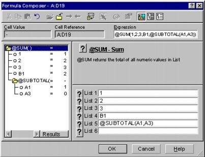 Wordperfect Quattro Pro formula composer Composing formulas