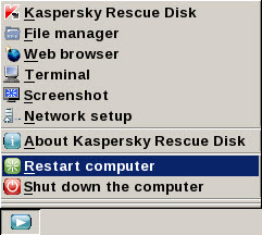 Rescue Disk menu krd Taskbar