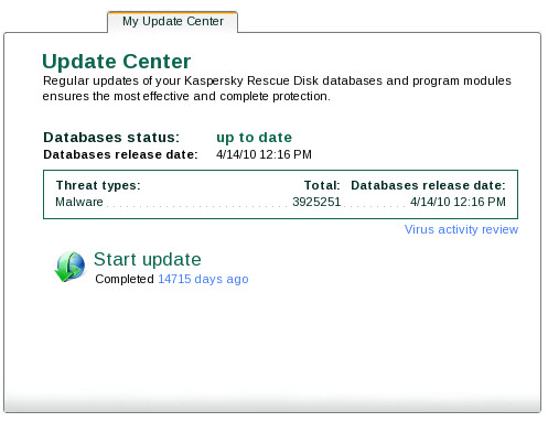 Rescue Disk updating Main window