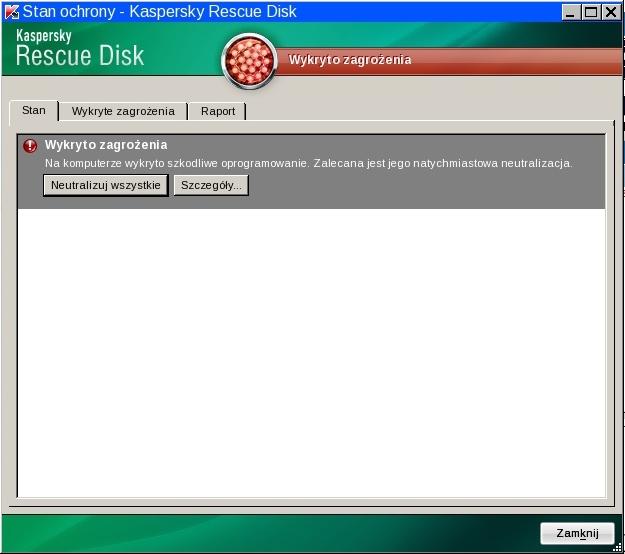 Rescue Disk sost zash rus Stan ochrony komputera