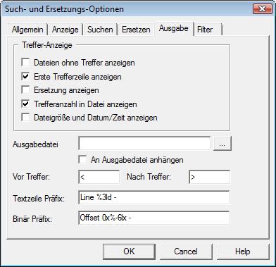 Search & Replace optout Ausgabe Optionen