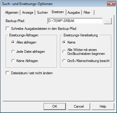 Search & Replace optrepl Ersetzungs Optionen