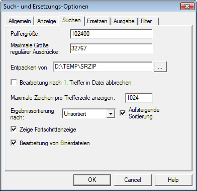 Search & Replace optsear Suchoptionen