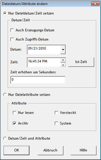 Search & Replace touch1 Dateiattribute