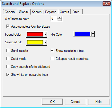Search & Replace optdisp Display Options