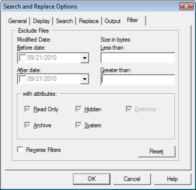 Search & Replace optfilt Filter Options
