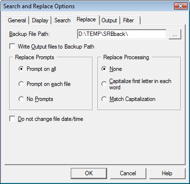 Search & Replace optrepl Replacement Options