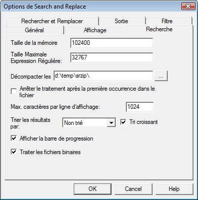 Search & Replace optsear Options de recherche