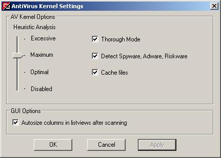Vba32 AntiRootkit avkernel settings Прозорец AntiVirus Kernel Settings