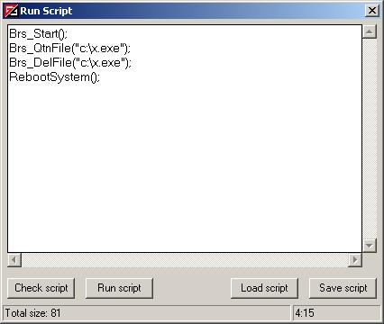 Vba32 AntiRootkit run script Изпълняване на скриптове