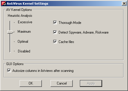Vba32 AntiRootkit avkernel settings AntiVirus Kernel Settings Window