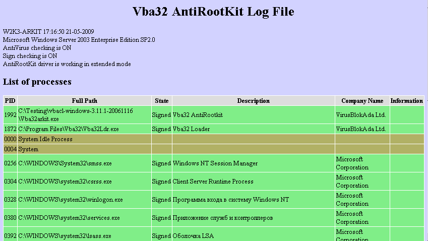 Vba32 AntiRootkit html log Collecting System State Information