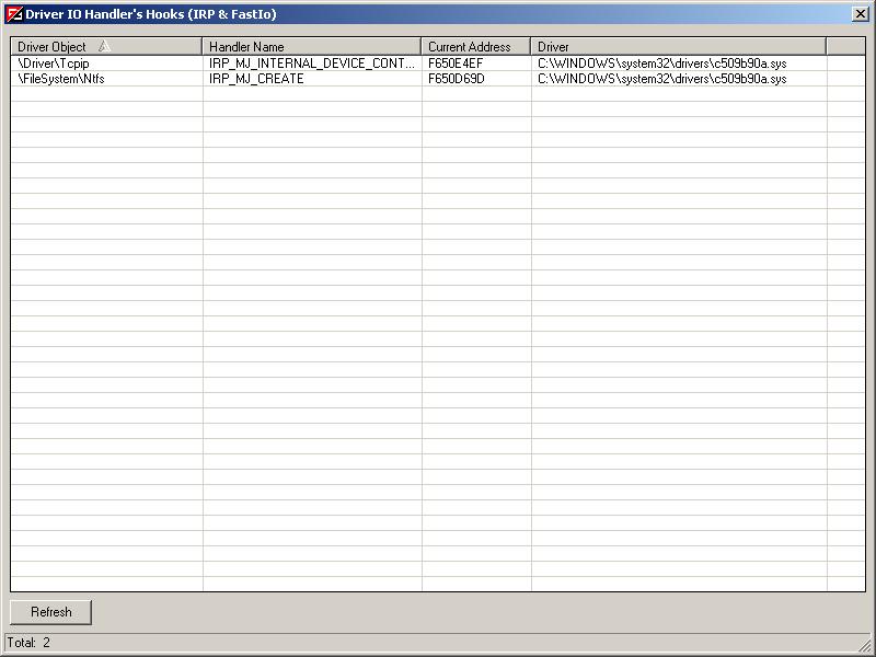 Vba32 AntiRootkit irp 1 Driver IO Handler Hooks Window